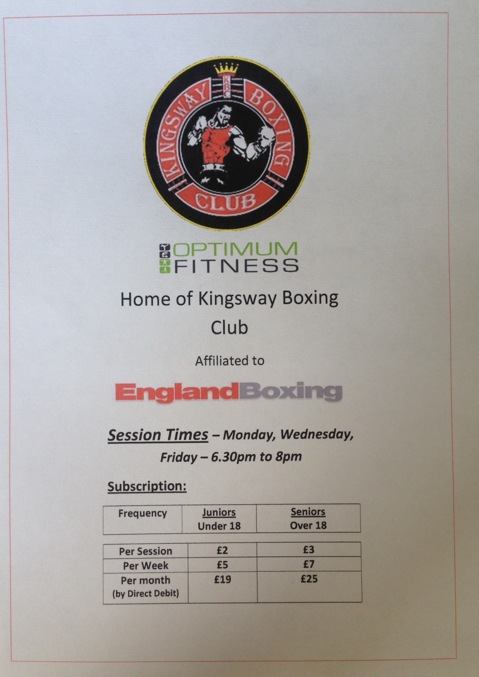 Optimum Fitness Welcomes – Kingsway Boxing Club